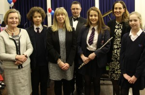 Left to Right for photograph Susan Stathers (Chair of Governors), Toby U (Yr7), Clare Talbot (Headteacher), Matthew Nash (Head of Music), Mille B (Yr 9), Nikki Barton, County Councillor, Eloise H (Yr 7)