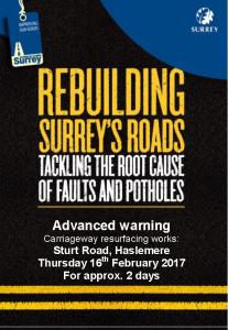 NB Sturt Road Repair