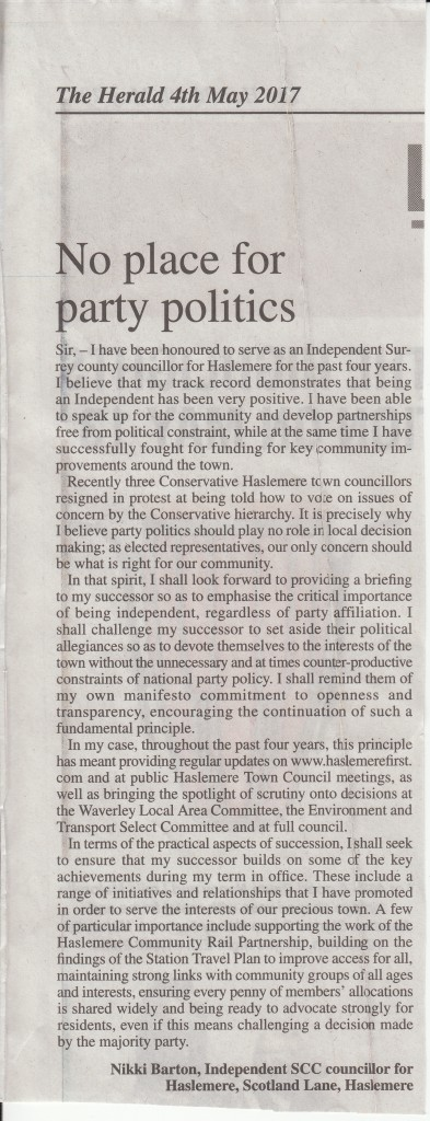 NB Haslemere Herald Letter